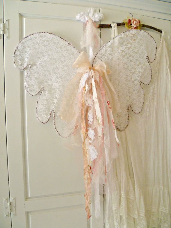 french country cottage angel wings shabby chic angel wings lace rh pinterest com diy shabby chic angel wings