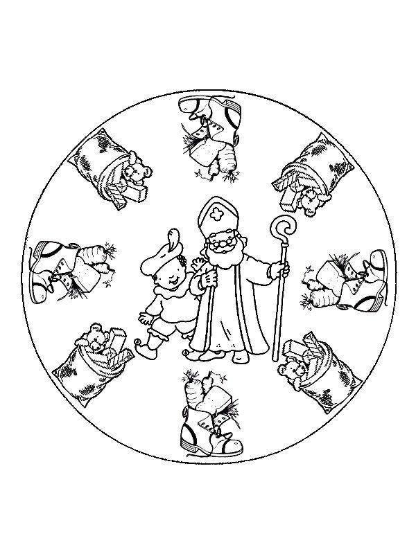 Kleurplaten Sinterklaas Mandala.Mandala Sinterklaas En Piet Sinterklaas Kleurplaten Saint