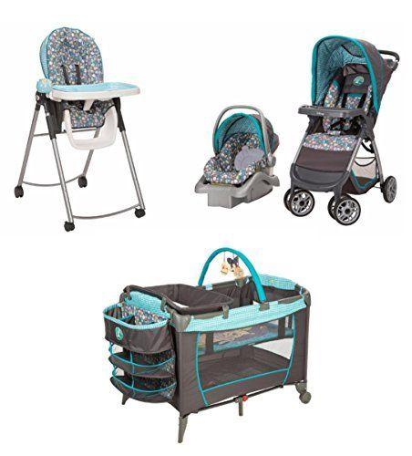 4 Piece Winnie The Pooh Newborn Set Stroller Car Seat High Chair Play Yard Bundle Baby