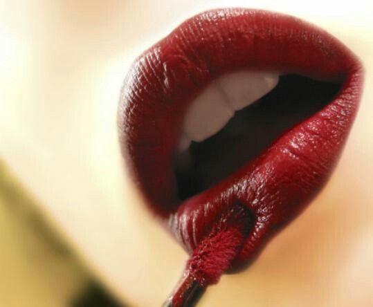 Wow burgundy lipstick...