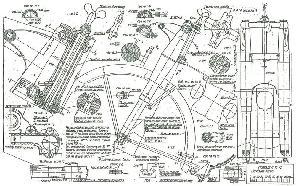 M-72 (BMW R71) forks Motorcycle engines and blueprints Pinterest - new blueprint hair design