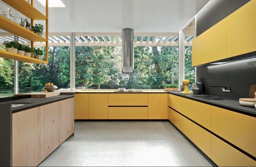 Cocina En Color Amarillo Mostaza Apartamento Contemporaneo Escaleras Contemporaneas Casa Contemporanea