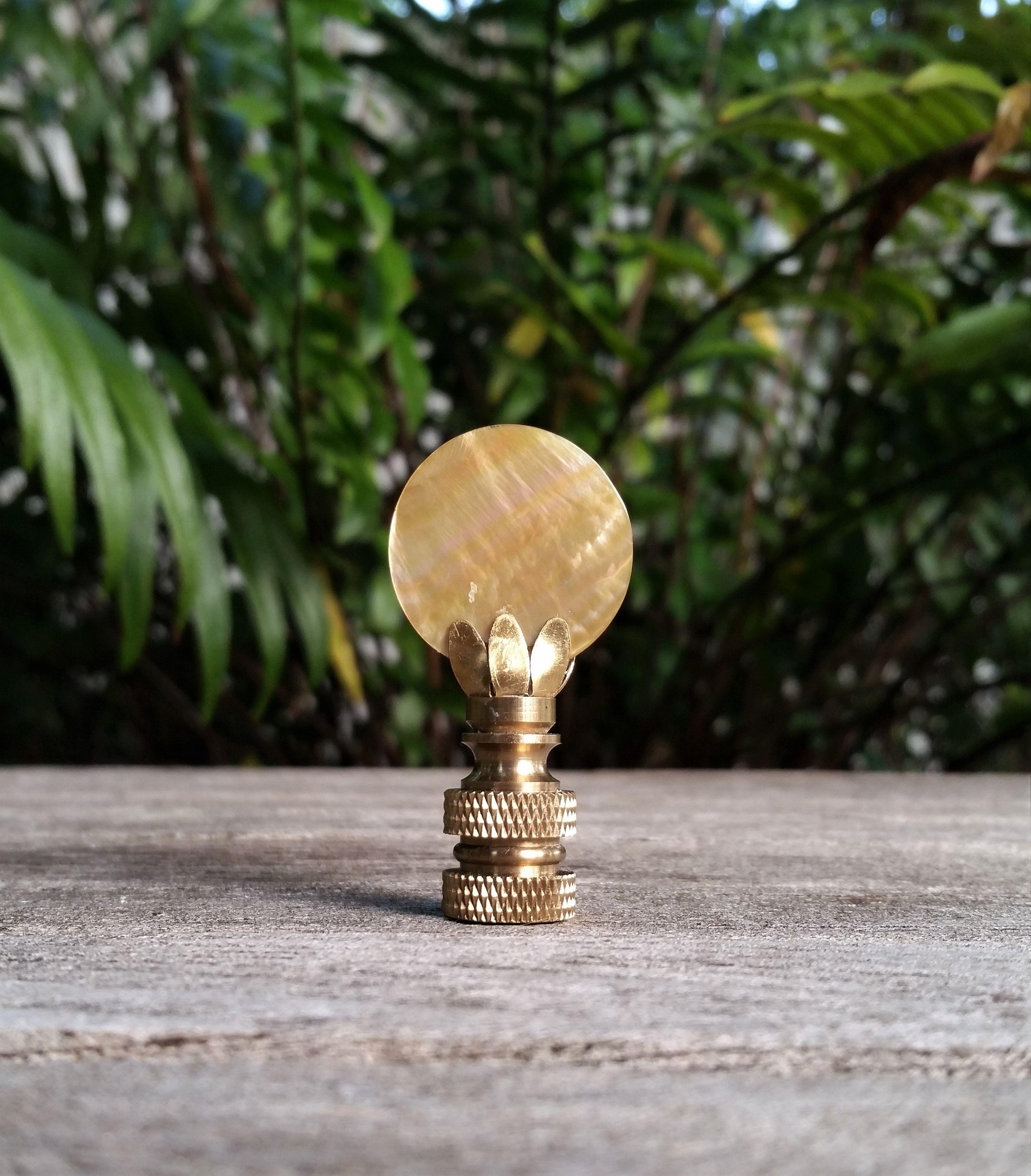 Mother Of Pearl Lamp Finial Lamp Finial Coastal Lamp Golden Lamps