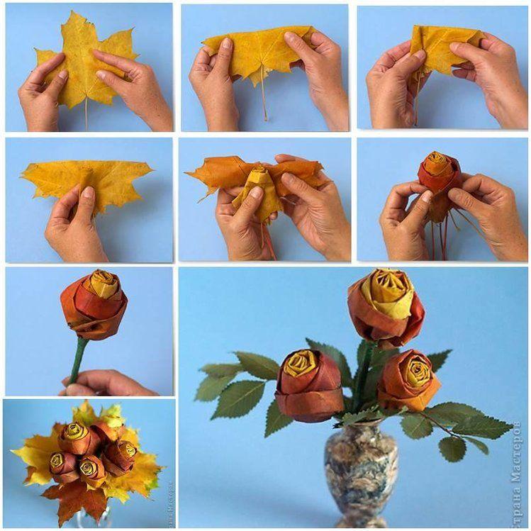 Roze Z Lisci Dekoracje Leaf Crafts Flower Crafts Flower Making