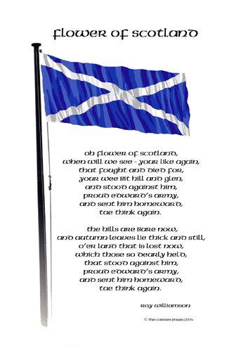 Flower of Scotland lyrics with Flagpole postcard | Scottish