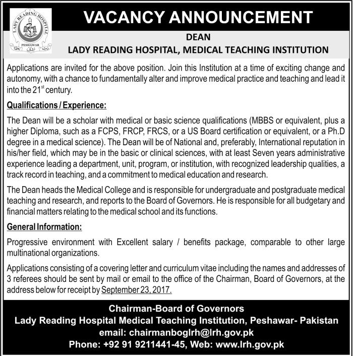 Lady Reading Hospital Jobs  In Peshawar For Dean HttpWww