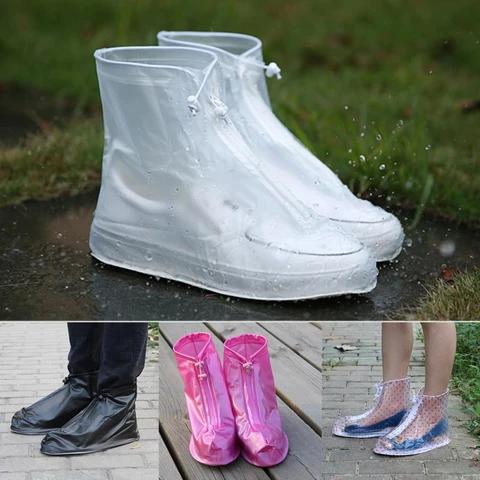 Reusable Waterproof Anti-Slip Rain Shoe Covers Zipper Overshoes Boots Gear US