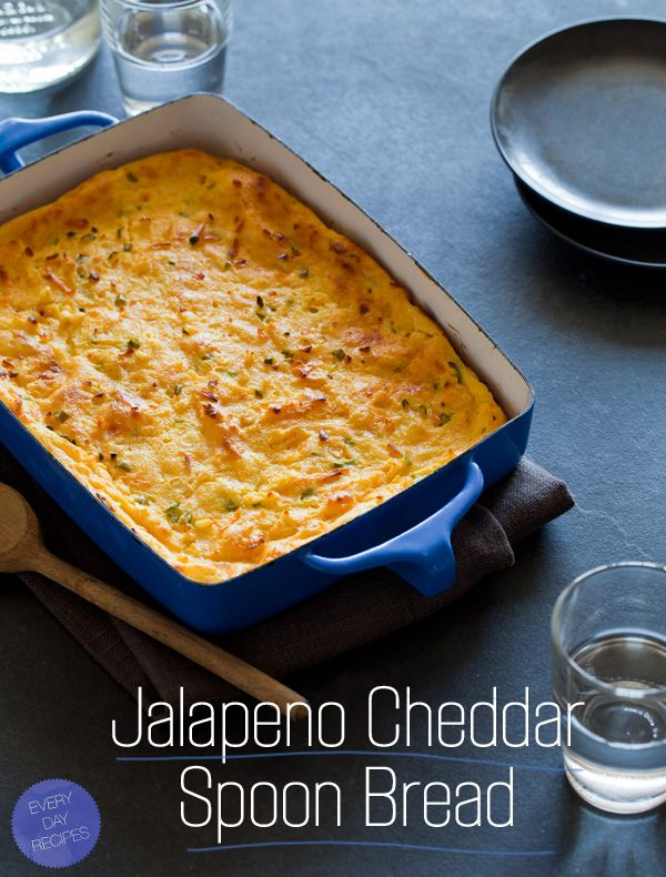 Jalapeño Cheddar Spoon Bread is the perfect side dish for nearly everything. This dish is so creamy and airy, you will love it!
