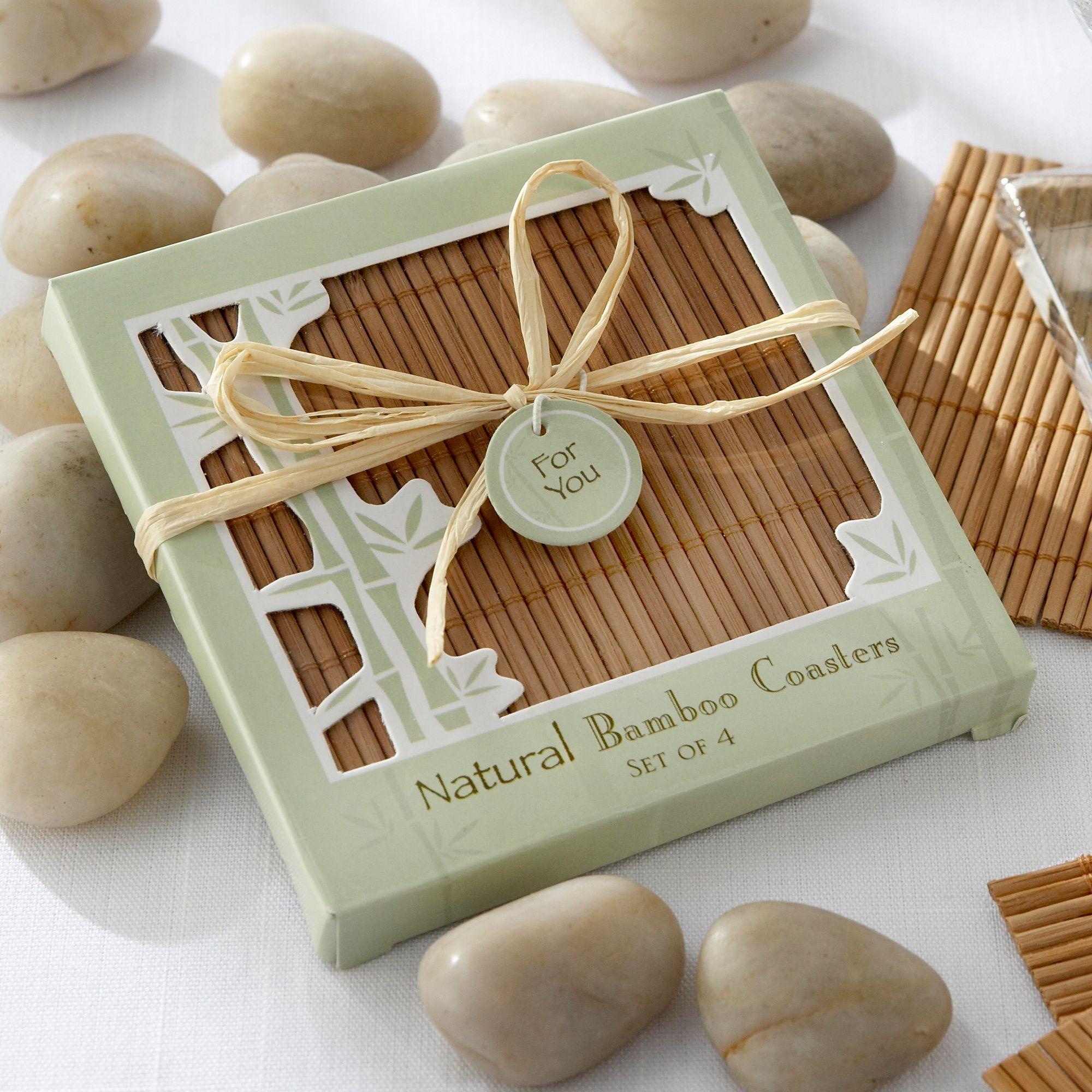 Natural Bamboo Wedding Coasters Favor