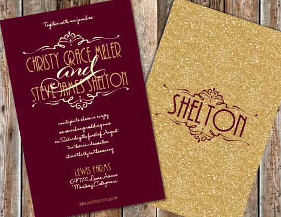 Maroon And Gold Wedding Invitations Gold Glitter Wedding Etsy Glitter Wedding Invitations Burgundy Wedding Invitations Gold Wedding Invitations