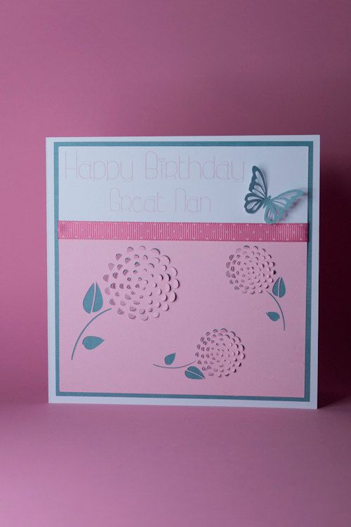 Handmade Pretty Pink Round Flower Heads With Butterfly Birthday Card