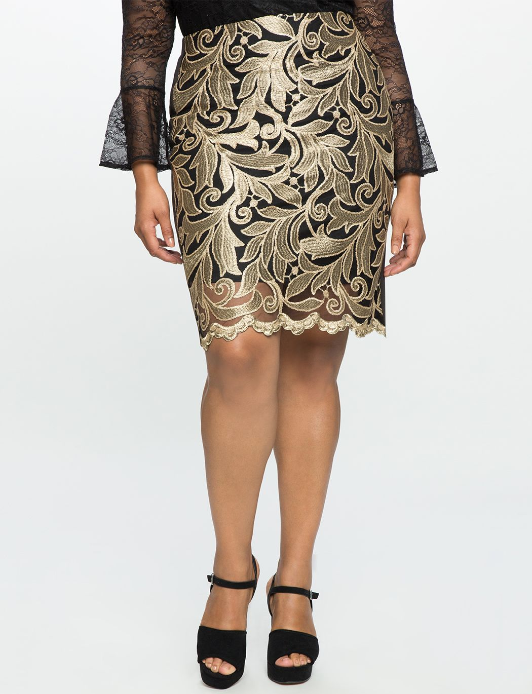 12796d5af82 Embroidered Metallic Pencil Skirt Black and Gold