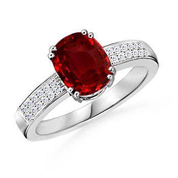 Angara Bezel Framed Round Ruby Promise Ring in Platinum g2ObBwq