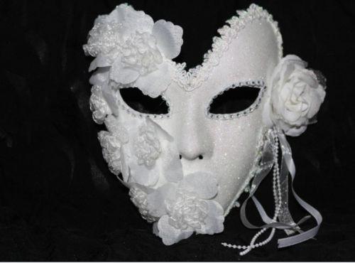 Womens Silver Glitter Venice Venetian Eye Mask Masquerade Ball Fancy Dress
