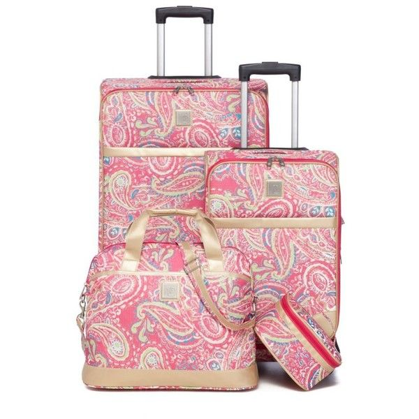 New Directions Busy Pink Paisley 4-Piece Busy Pink Paisley Luggage ...