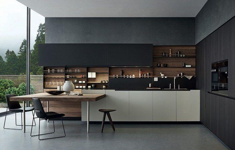 Varenna Küchen ~ Steel and wood kitchen with peninsula phoenix varenna by poliform