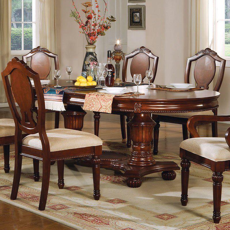 Acme Furniture Classique Rectangular Double Pedestal Dining Table   ACM945