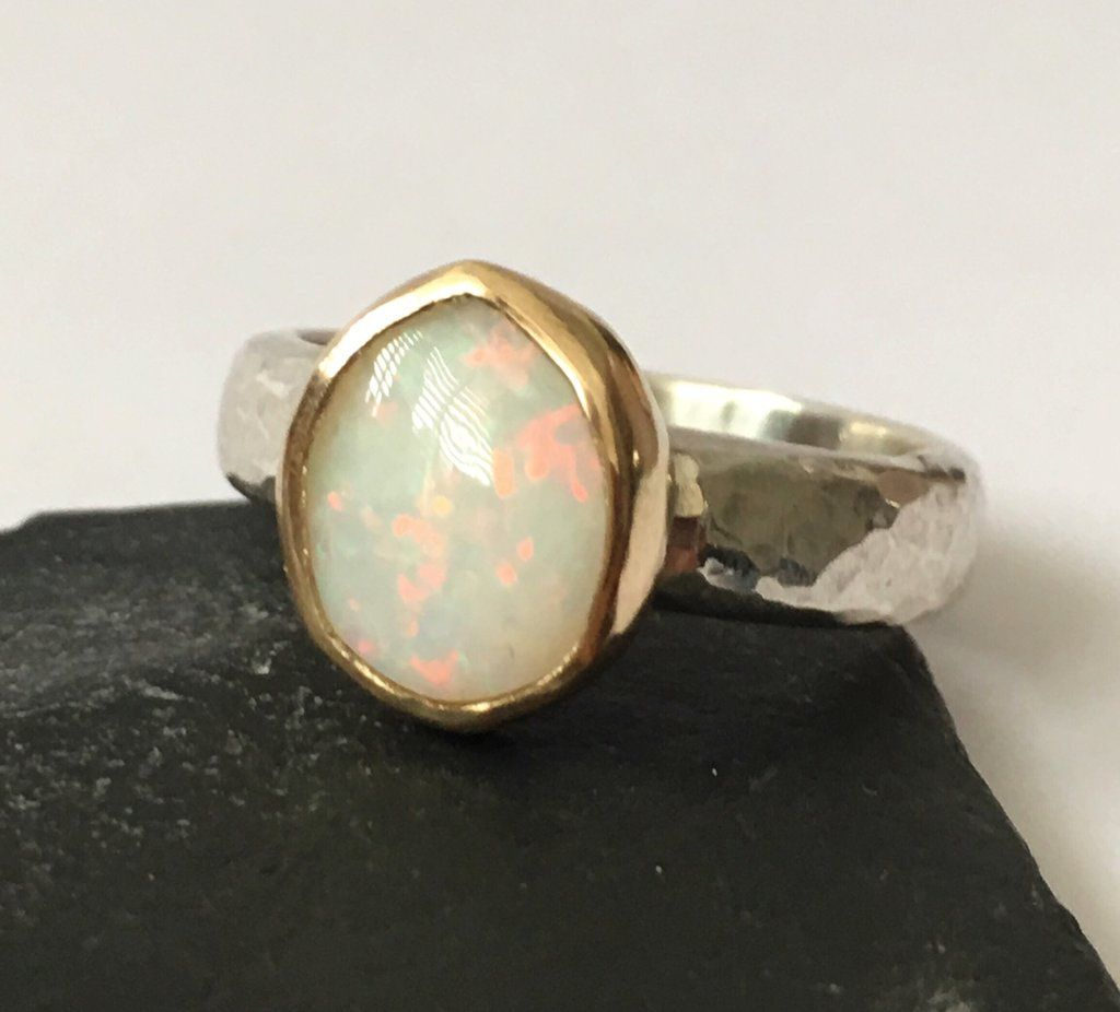 Solid Opal 9 Ct Gold Sterling Silver Ring Silver Ring Designs Silver Diamond Jewelry Handmade Gold Jewellery
