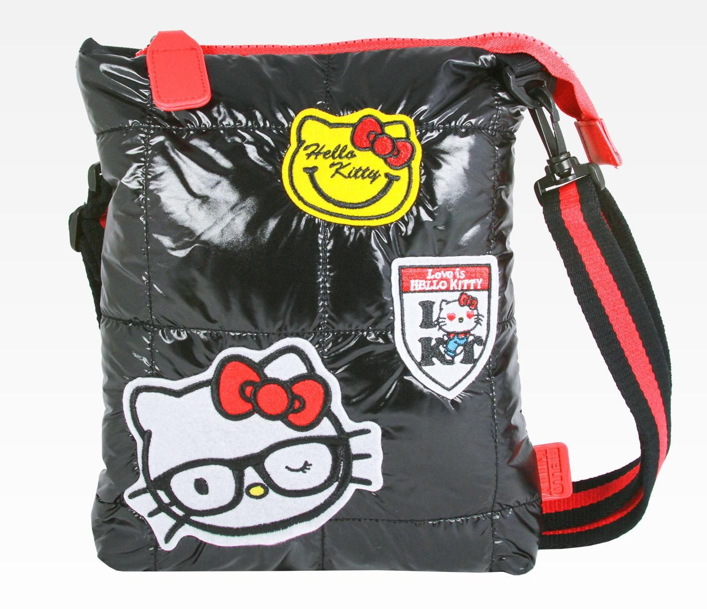 Hello Kitty Quilted Shoulder Bag: Black