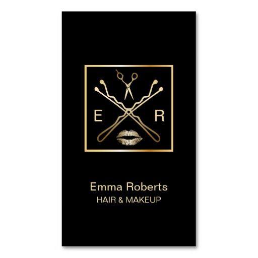 Makeup & Hair Stylist Bobby Pin Scissor & Lips Business Card