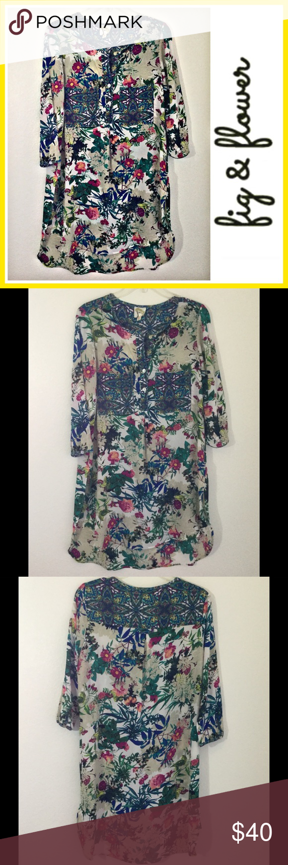 5ba786d45a98f3 Anthropologie Fig & Flower springtime tunic Anthropologie Fig & Flower  springtime tunic Gorgeous top can be used as dress as well Pit to pit is ...