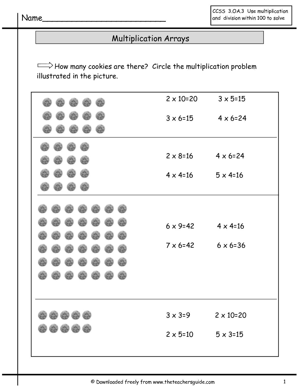 Multiplication Array Worksheets From The Teacher S Guide Array Worksheets Multiplication Arrays Math Worksheets