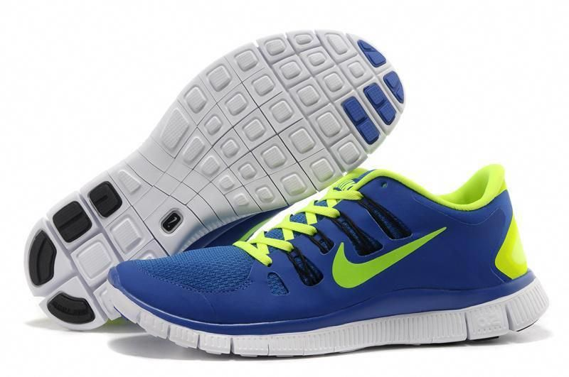 Nike Free 5.0+ Royal Blue Green Running shoes | Men's
