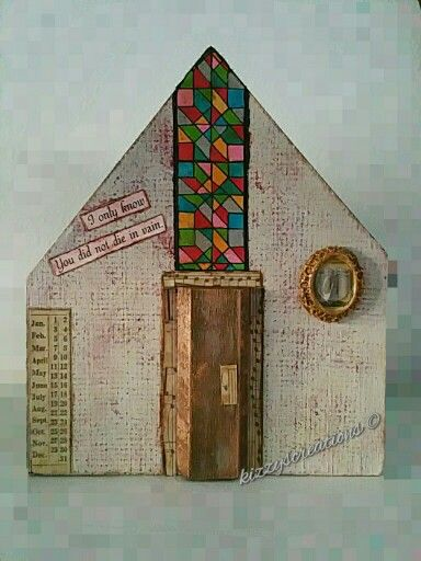 Mixed Media Wooden Houses Old World Church #handmade #mixedmedia #timholtz #rangerink