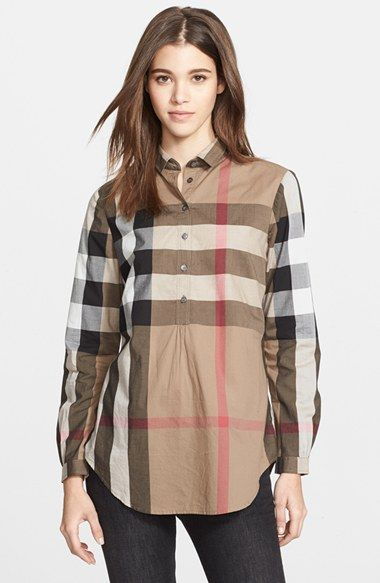 23bc6785344 Free shipping and returns on Burberry Brit Check Tunic Shirt at  Nordstrom.com. A lightweight cotton shirt branded with Burberry's signature  check design ...