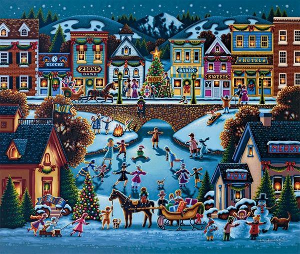 Hometown Christmas by Eric Dowdle - Utah Eric Dowdle Folk Art