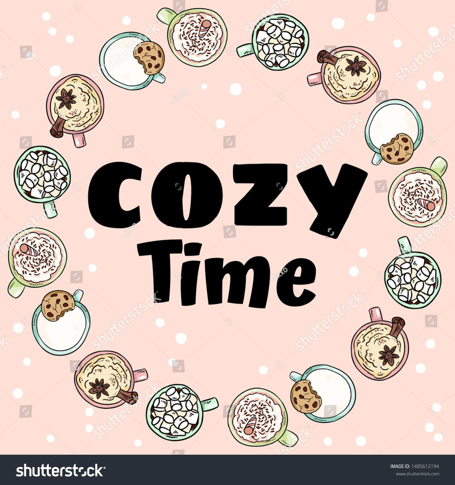 Cozy Time Decorative Wreath Of Cups Of Yummy Drinks Hand Drawn Cartoon Cute Coffee And Cacao Cream Drinks Ornamen In 2020 Wreath Decor How To Draw Hands Word Template