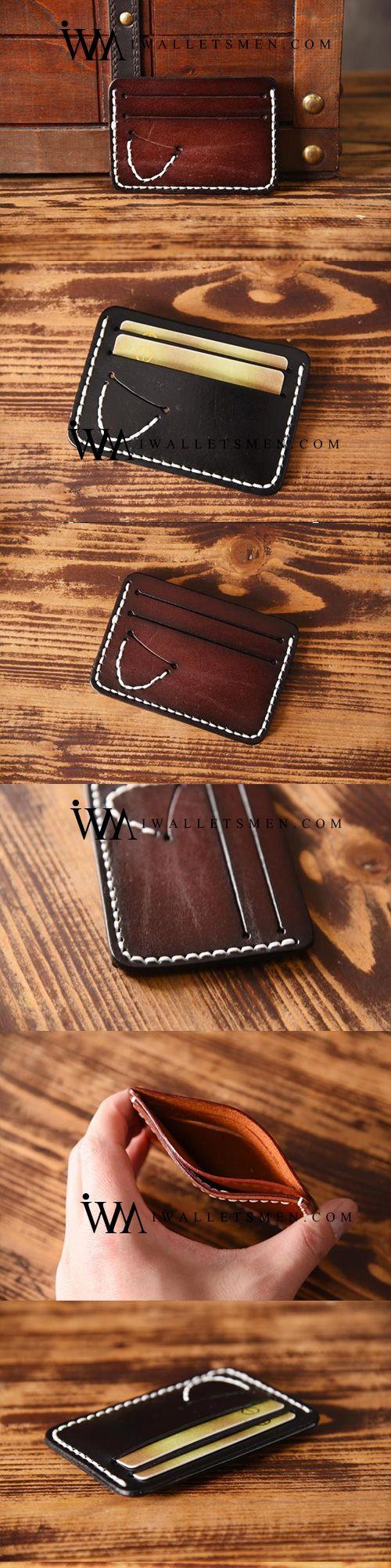 Handmade Mens Cool Short Leather Wallet Men Small Card Slim Wallets