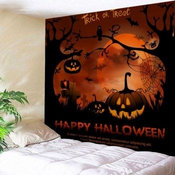 Wall Hanging Happy Halloween Tapestry Happy halloween, Scene - halloween scene setters decorations
