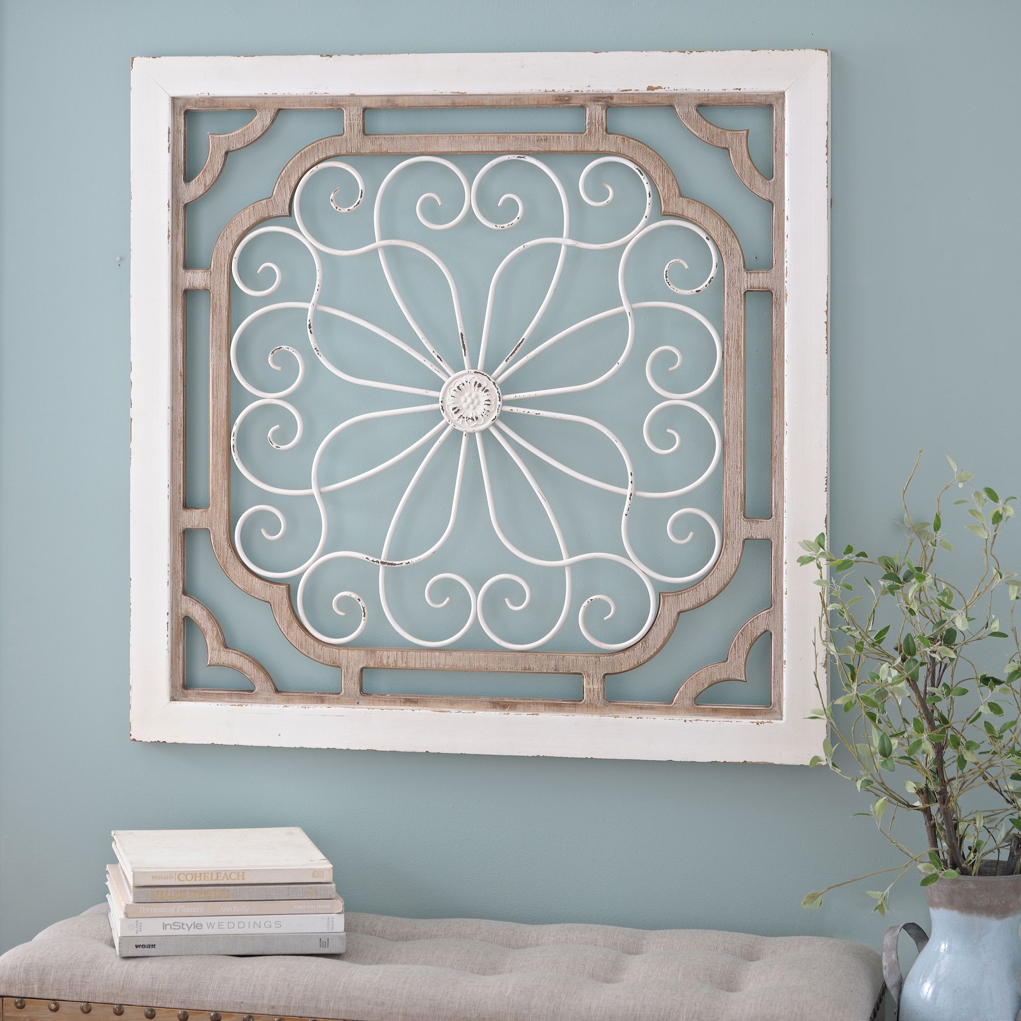 Wood And Metal Wall Plaque Distressed Vedara Wood And Metal Wall Plaque  Metal Walls Metals