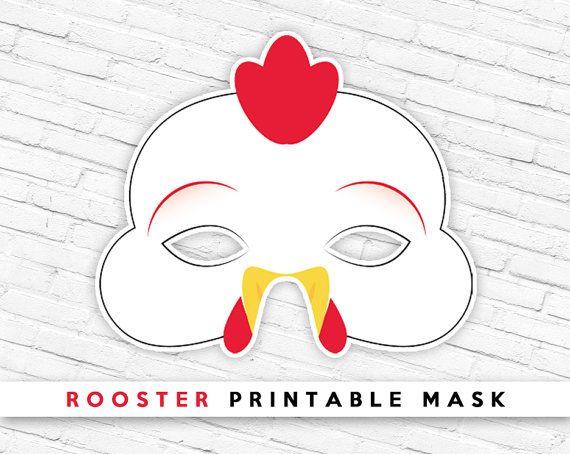 Halloween Mask, Printable Mask, Chicken Rooster Printable Mask ...