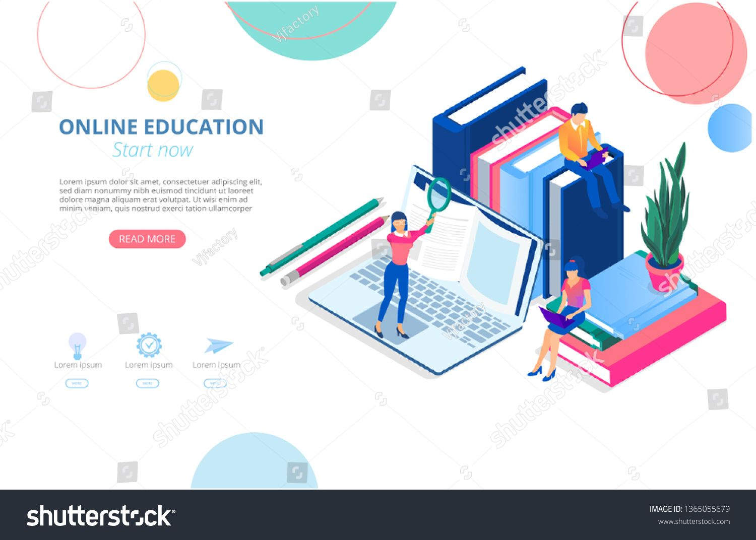 Online Education Background Or Homepage Template With Laptop