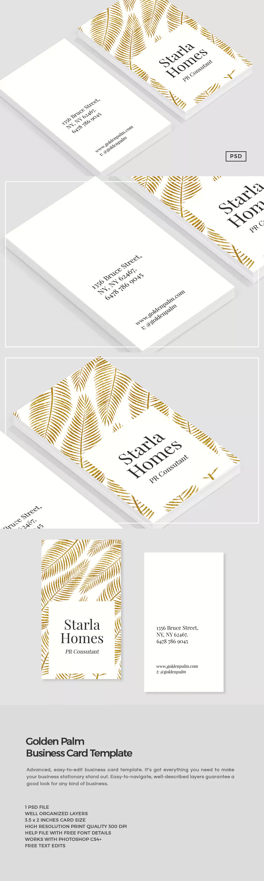 Golden Palm Business Card Template PSD | LOGO | Pinterest | Tarjeta ...