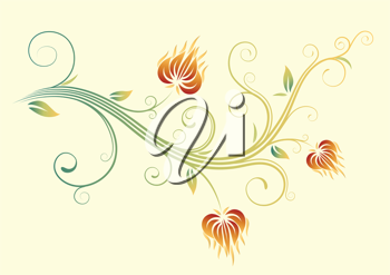 iCLIPART - Vector illustration of a Floral Fall Background