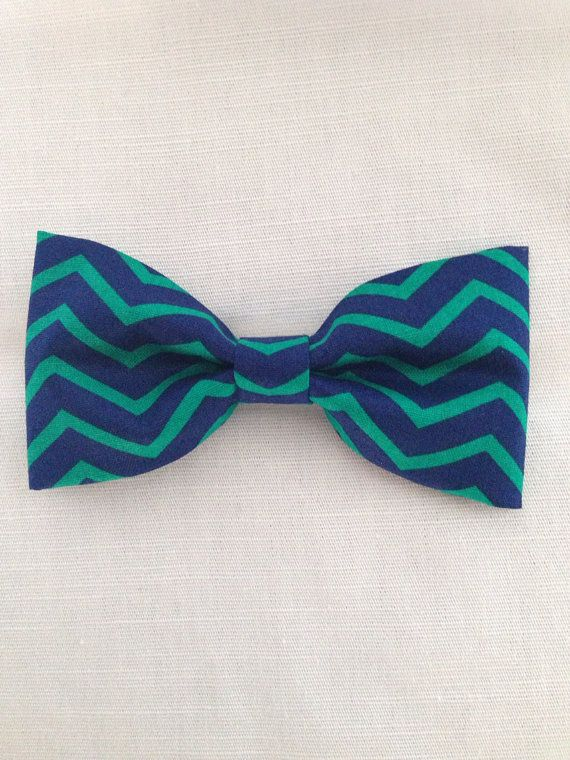 Navy & green chevron stripe hair bow  on Etsy, $6.51 Follow on Instagram & Facebook