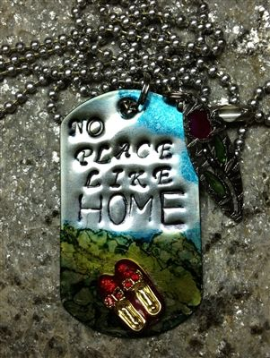 Dog Tag Necklace NO PLACE LIKE HOME at www.newagaindesign.com $30.00
