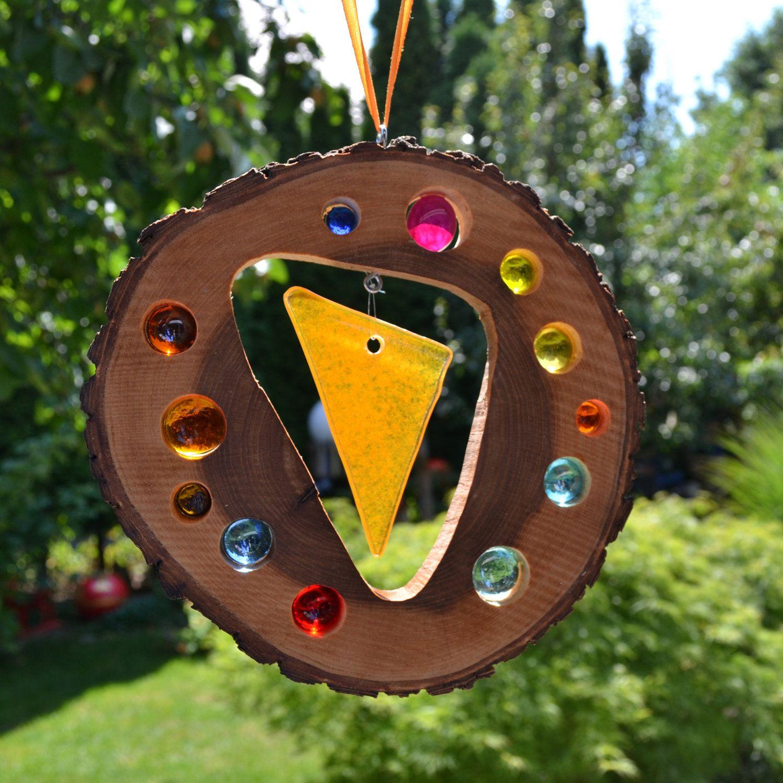 Gartendeko Anhänger Holz Sonnenfänger Fusing Glas Element 19 Cm Eiche Natur Fenster Von Tannwicht De