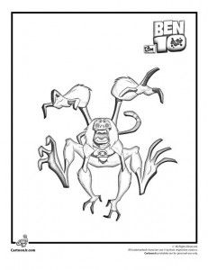 Ben 10 Ultimate Alien Spider Monkey Coloring Pages for Kids to ... | 300x231