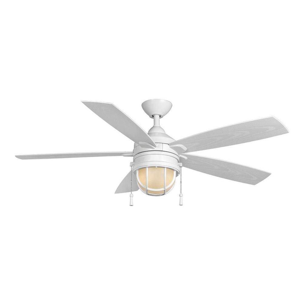 Hampton Bay Seaport 52 In Indoor Outdoor White Ceiling Fan Al634 Wh At The Home Depot White Ceiling Fan Nautical Ceiling Fan Ceiling Fan