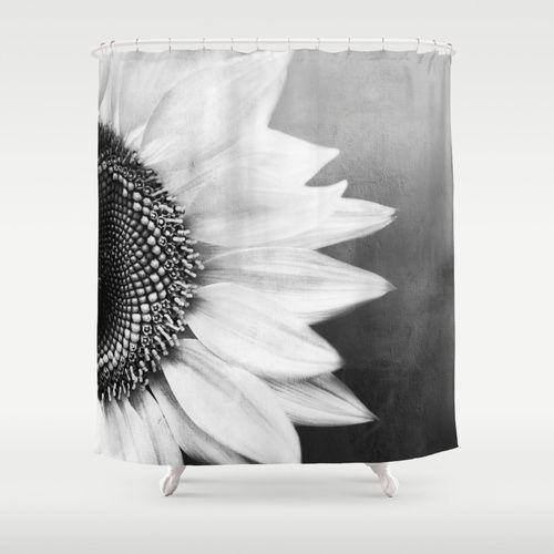 B&W Sunflower Shower Curtain