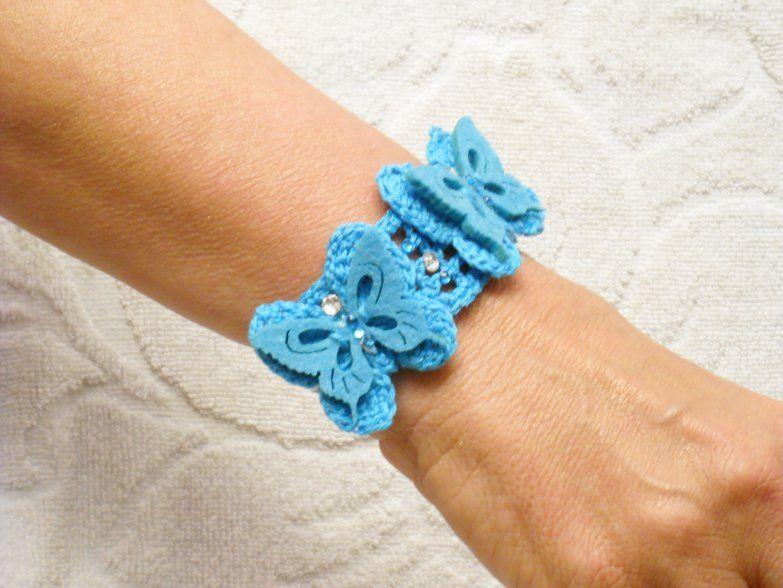 Bracciale Uncinetto Farfalle Turchese Handmade Inspiration