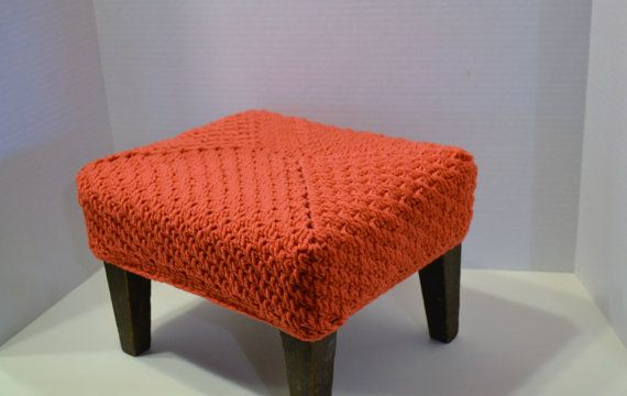 Vintage Wood Footstool with Crocheted Cover by LittlestSister, $49.75