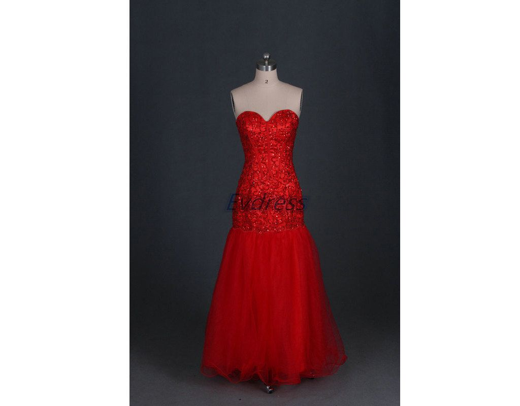 Long red tulle prom dresses with rhinestonesaffordable by evdress