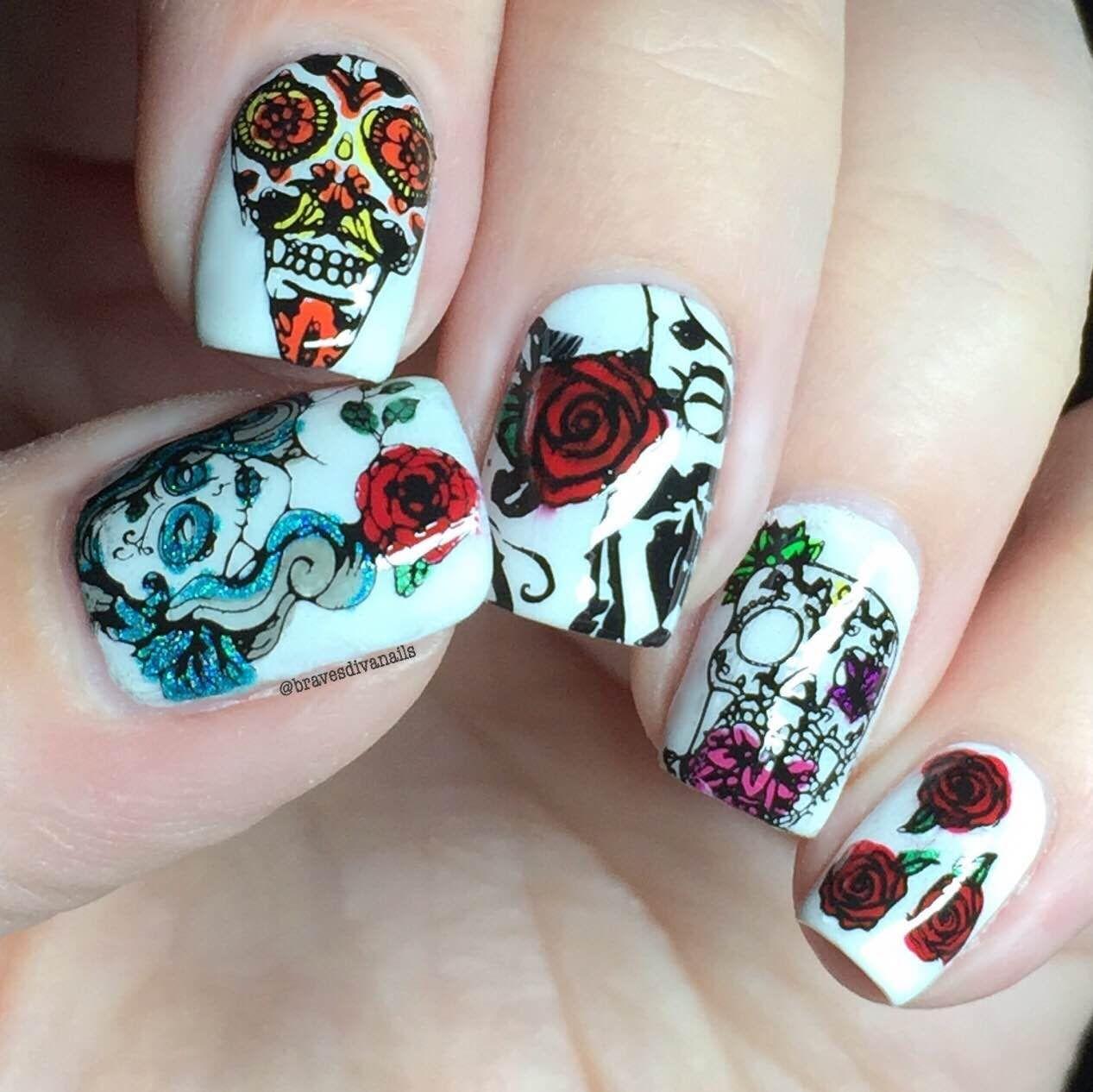 Nail Art Tutorial - Sugar Skulls Reverse Stamping Using UberChic ...