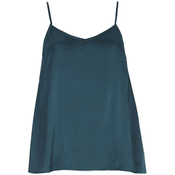 Alice & You Teal Satin Cami Top ($9) ❤ liked on Polyvore featuring tops, cami, shirts, blue, satin camisole tops, satin tank, teal tank top, camisole tank top and strappy tank top