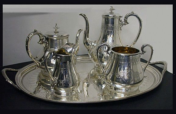 Antique Silver Tea & Coffee Service & Tray, Hallmarked 1848-1878 - Art & Antiques Online - CINOA